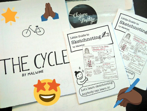 Picture of sketchnoting zines with emojis